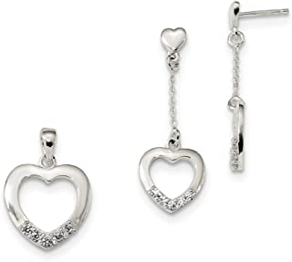Sterling Silver Polished Cubic Zirconia Heart Dangle Earrings and Pendant Set