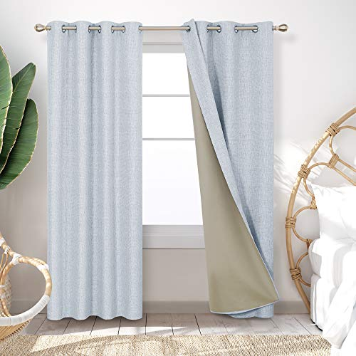Deconovo Soundproof Insulated Total Blackout Curtains Textured Composite Microfiber Blackout Curtains 84 Inches Long for Dining Room Navy Blue 2 Panels