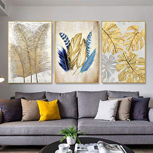 Pintura de lienzo nórdica Pintura de hojas doradas Pinturas de plumas doradas Carteles abstractos e impresiones Decoración Arte de la pared 50x70cm / 19.7'x27.6'sin marco