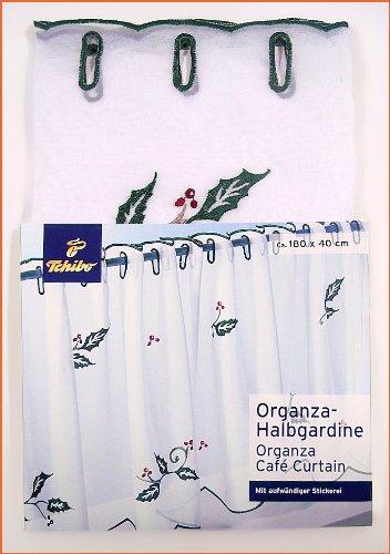 Bistro Gardine , Organza Halbgardine , Stickerei Scheibengardine - Bistrogardine