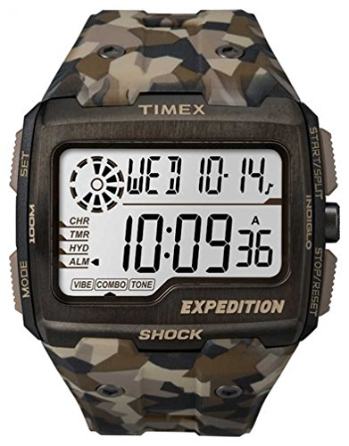 Timex Expedition Grid Shock - Reloj (Reloj de pulsera, Masculino, Acero inoxidable, Marrón, Resina, Marrón)