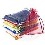 Comius Bolsitas de Tela para Regalos, 100 Piezas Multicolor Bolsas de Organza de Regalo para Boda Favores y Joyas (10 * 15cm)
