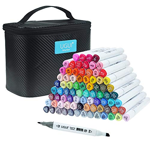 UGUI 80 Colors Dual Tip Marker Set, Permanent Marker Pens for Fine Art Academy, Highlighters With Upgraded Case for Sketching, Card Making, Manga and IIIustration, Designer Coloring and Kids Drawing