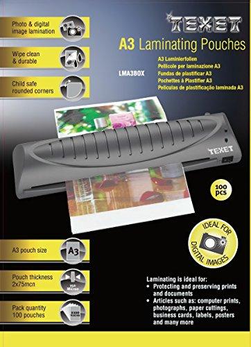 Texet Feuilles de plastification A3 75 microns par face, 150µ total, boîte de 100 78229 Transparent