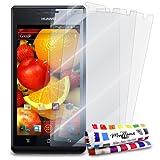 MUZZANO - Set di 3 pellicole protettive per Display Ultra Trasparenti, per Cellulare/Tablet Huawei U9200 Trasparente