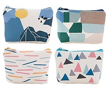 iSuperb Pack of 4 Canvas Coin Purse Change Cash Bag Zipper Small Purse Wallets  Geometric Pattern