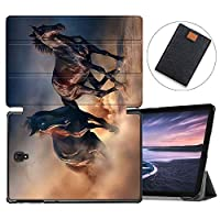 MAITTAO Galaxy Tab S4 10.5 2018 Case SM-T830/T835/T837, Slim Magnetic Smart Folio Shell Stand Cover For Samsung Galaxy Tab S4 10.5 Inch Tablet Sleeve Bag 2 in 1 Bundle, Akhal-Teke Horse 20