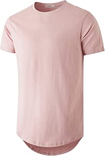 YININF Men's Fashion Hip Hop Longline 100% Cotton Round Neck V Design T-Shirt