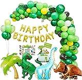Decoraciones para el Noveno cumpleaños,214 Piezas de Guirnalda y Arco de Pancarta de Feliz cumpleaños, Suministros para Fiestas de Dinosaurios, Globos para Fiestas de Dinosaurios