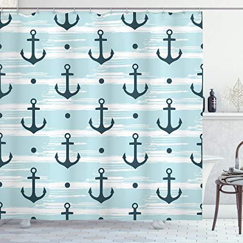 ABAKUHAUS Anker Douchegordijn, Patroon met Ankers, stoffen badkamerdecoratieset met haakjes, 175 x 220 cm, Pale Blue Dark Green