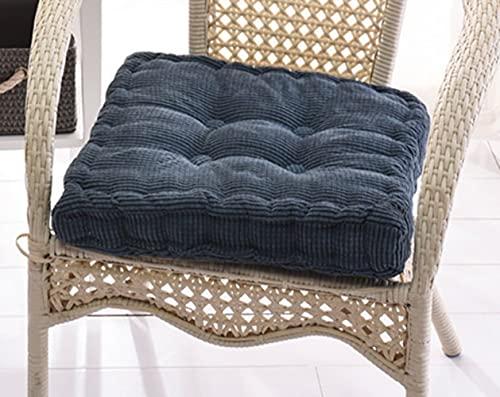 Hruile Cojín grueso cuadrado para silla, cojín de asiento para silla de jardín, diseño transpirable, cojín de silla de comedor, cojín portátil duradero para interior y exterior