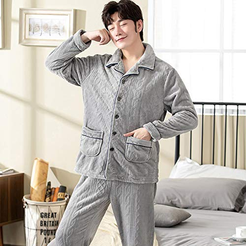 DFDLNL Pijamas Gruesos de Franela de Solapa de Invierno para Mujer Pijamas de Terciopelo de Lana 2 Piezas Ropa de Dormir Sudadera Ropa de hogar cálida XXL TM7009