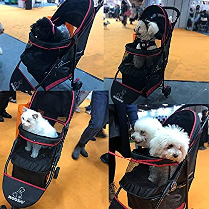 ROODO Escort Pet Stroller Dog and cat pet Three-Wheeled cart - Lightweight, Compact, Portable, Practical, Removable, Change Color (Black special edition) 8