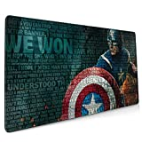 Superhero Captain America Mouse Pad Rectangle Non-Slip Rubber Electronic Sports Oversized Large Mousepad Gaming Dedicated,for Laptop Computer & PC 15.8X35.4 Inch