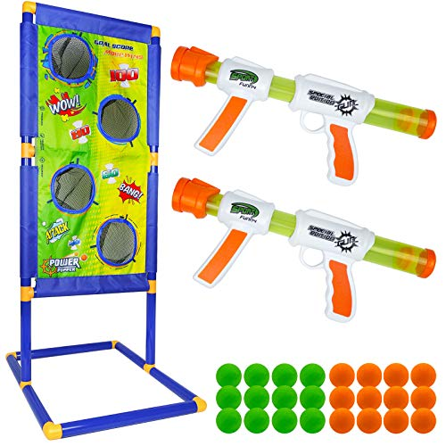Trsmima Shooting Game Toy for Age 5, 6, 7, 8,9,10+ Years Old Kids, Boys – 2pk Foam Ball Popper Air Guns & Shooting Target & 15 Foam Balls – Ideal Gift – Compatible with Nerf Toy Guns