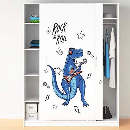 Rock Roll Dinosaurio Pegatinas De Pared Para Habitación De Niños Animales De Dibujos Animados Decoración Para El Hogar Arte Viny Pvc Wallpaper Puerta Creativa Decoración De Nevera 90X60Cm