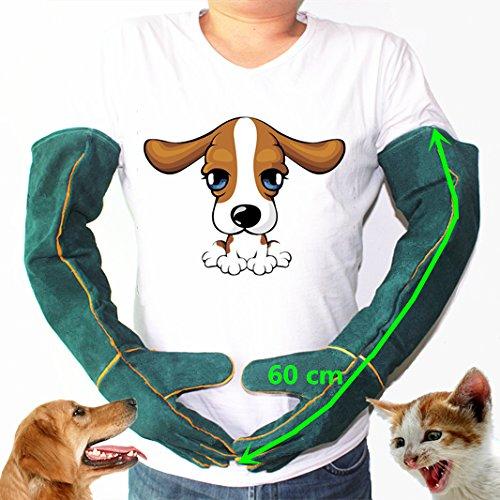 guanti per gatti MASUNN Guanto di Sicurezza Anti-Bite Guanti Ultra Lungo in Pelle Verde Animali Afferrare Mordere Guanti Protettivi per Catturare Cane Gatto Rettile Animale