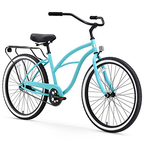 sixthreezero Around The Block Women s Single-Speed Beach Cruiser Bicycle, 24  Wheels, Teal Blue with Black Seat and Grips