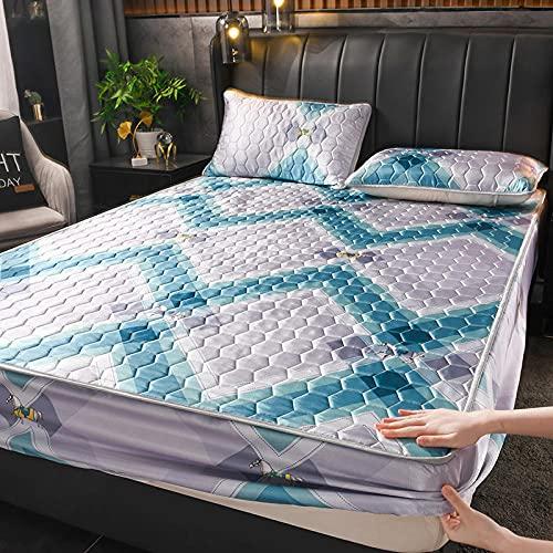 YFGY Sábana Bajera Double XL, Funda de colchón Acolchada Espesa de Verano, Sábana de Cama de Seda de Hielo Cojín de Cama Permeable al Aire Azul 1180 * 200 cm (3 Piezas)