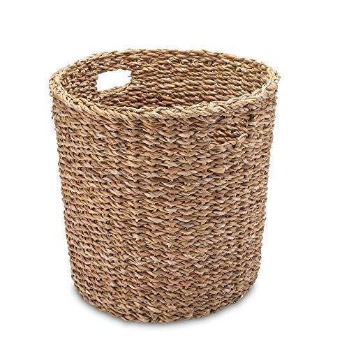 Gruener Handel Papierkorb Seegras Rund mit Eingriff - Natur - Handarbeit - Fair Trade (Ø 30cm)