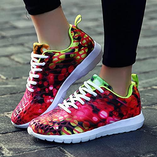 Fnho Calzado Deportivo para Hombres y Mujeres,Ocio Deportes al Aire Libre Calzado,Pareja de Zapatos Deportivos, Zapatos de Malla de Camuflaje-Rose Red_38