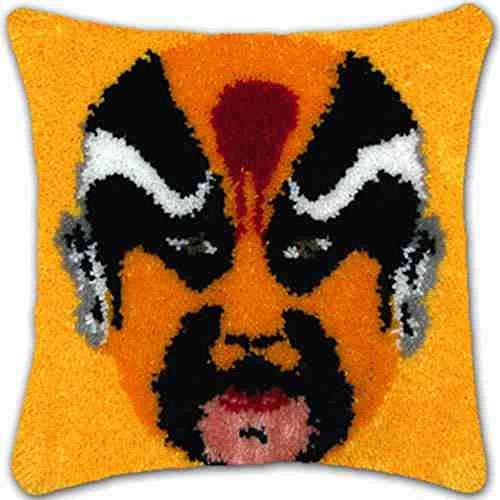 Cushion Latch Hook Kits,DIY Werfen Kissenbezug Materialien Paket, Chinesische Merkmal Drama Maske Gelb Gesicht Muster Hand Handwerk Häkeln Teppich Garn Kissenstickerei, Herausforderung Geschenk Für