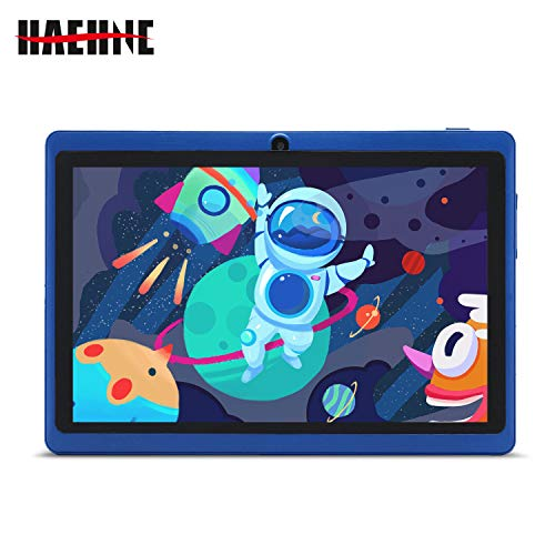 Haehne 7 Pollici Tablet PC, Android 9.0 Google GMS HD Tablet, Quad Core 1GB RAM 16GB ROM, Doppia Fotocamera, WiFi, Bluetooth, Blu