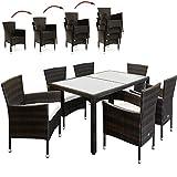Deuba - Salon de Jardin en polyrotin Brun - Ensemble 6+1 - Chaises empilables - Table avec Plateau en Verre dépoli - Coussin crème 7cm - Mobilier