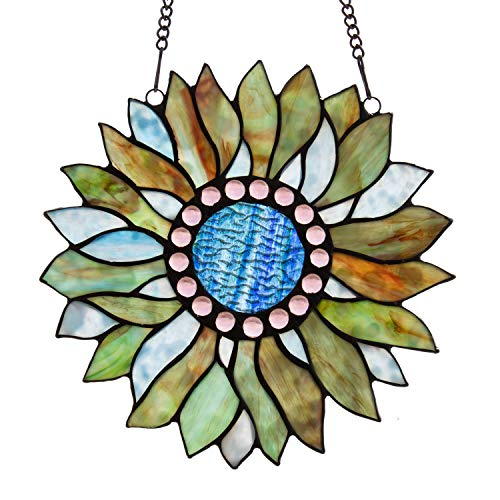 Capulina Stained Glass Panel Handcrafted Modern Sunflower Stained Glass Window Hangings with Chain - Abstract Art Style (W10.6 x H10.8 inches)