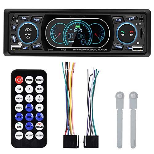 Receptor de radio estéreo para automóvil, Adaptador Bluetooth para automóvil 4 X 60W Gran potencia Dual USB Bluetooth Manos libres Carga rápida Radio FM para automóvil Reproductor de MP3 Transmisor FM