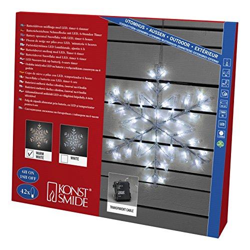 """Konstsmide 4560-103 LED Acrylsilhouette \""""Schneeflocke\"""" / für Außen (IP44) / Batteriebetrieben: 4xAA 1.5V (exkl.) / mit 6h Timer / 42 warm weiße Diode / transparentes Kabel"""