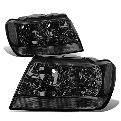 Pair of Smoked Housing Clear Corner Headlights Assembly HeadLamps Replacement for Jeep Grand Cherokee WJ 99-04