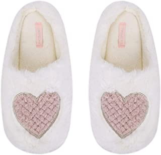 Bunny House Slippers, Women Fuzzy Plush Warm Winter House Shoes Ladies Slipper with Memory Foam Fleece Lined Womans Indoor Feet Slippers Cozy Cute Animal Bedroom Slippers Pink Heart House Shoes