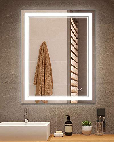 Keonjinn 24 x 32 Inch LED Vanity Bathroom Mirror Anti-Fog Dimmable Wall Makeup Mirror with Light (Horizontal/Vertical)