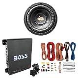Lanzar MAXP84 8' 800W Power Car Subwoofer + Boss R1100M 1100W Mono Amp + Amp Kit