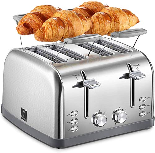 Yabano 4 Slice Toaster, Retro Bagel Toaster with 7 Bread Shade Settings and Warming Rack, 4 Extra Wide Slots, Defrost/Bagel/Cancel Function, Removable Crumb Tray, Stainless Steel Toaster, Silver