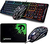 LexonElec Gaming Keyboard Mouse Combo K13 Wired Rainbow Led Backlit 104 Keys Ergonomic Gamer Keyboard + 2400DPI Adjust 4 Buttons Usb Optical Game Mouse Sets Mousepad for PC Laptop (Black)
