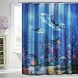 Tenda da doccia 180 x 200 cm, impermeabile, antimuffa, in poliestere, lavabile, con orlo pesante e 12 anelli per tenda da doccia per vasca da bagno e Bathroom, blu