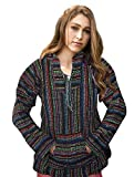 Mexican Baja Hoodie Sweater Sweatshirt Pullover Jerga (Small, Multi-color thin stripe)