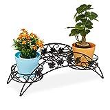 Relaxdays Blumentreppe Escalera para macetas (3 estantes, para Interior y Exterior, Hierro, 21 x 55 x 19 cm), Color Negro, 1 Unidad