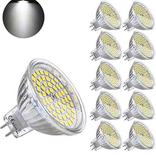 Yafido Bombilla LED GU5.3 MR16 12V 5W Blanco Frio Equivalente a Halogeno 35W Spot Luz GU 5.3 6000K Foco Ojo de Buey 450 Lumen No-regulable Ø50 x 48 mm Pack de 10