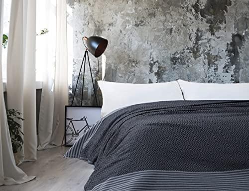 Fundas de cama, colchas de verano de algodón 100% tejido turco a mano para sofá, dormitorio, playa, picnic, cama con borlas, 200 x 250 cm (negro)
