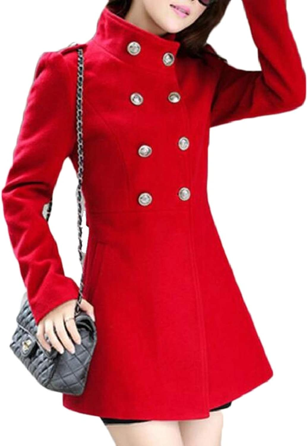 LEISHOP Women's Classic Notched Lapel Double Breasted Thick Wool Blended Pea Coat