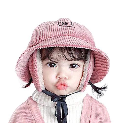 Zeeanker Baby Jungen Kinder Mädchen Wintermütze mit Ohrenschützer,Winter Fleece Cord Hut Kinderhut Mütze Unisex Warmen Eimer Sonnenhut Outdoor Cute 1-6jahre 50 51 52cm Pink