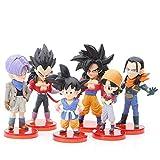 LXYY 6 Pz / Set 8 Cm Anime Dragon Ball Z Giocattoli Saiya Goten Super 17 Torankusu Pan Action Figure Toy Modello di Cartone Animato Bambola Giocattoli per Bambini Regali