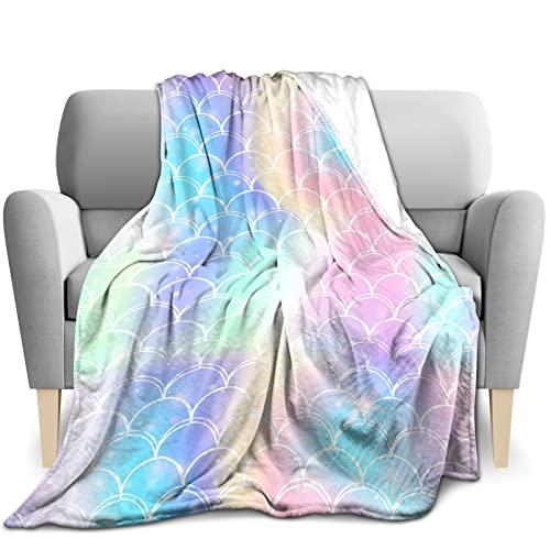Manta suave y mullida, manta de forro polar, cálida y acogedora, manta de sofá, manta de felpa muy suave para niños y mascotas, 130 x 150 cm, básculas de sirena