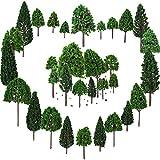 Bememo 33 Piezas de Árboles de Modelo Mezclados 1,18 - 6,29 Pulgadas/ 3 - 16 cm Árboles de Tren Árboles de Ferrocarril Paisaje Diorama Arquitectura para DIY Paisaje, Verde Natural