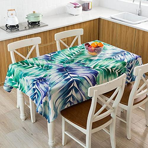 nórdico Tropical Hojas Verdes Monstera Flamingo Patrón Mantel de Lino Impermeable Hogar Cocina Hotel Picnic Mesa de Comedor Escritorio Mantel Decorativo-M, 140 * 180cm