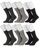 Tobeni 6 Paar Herrensocken Diabetiker Socken Baumwolle ganz ohne Gummi Farbe 2x Anthrazit 2x Grau 2x Schwarz Grösse 43-46