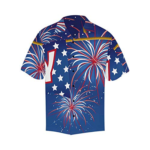InterestPrint Men's Casual Button Down Short Sleeve American Flag Firework Hawaiian Shirt XXXXXL